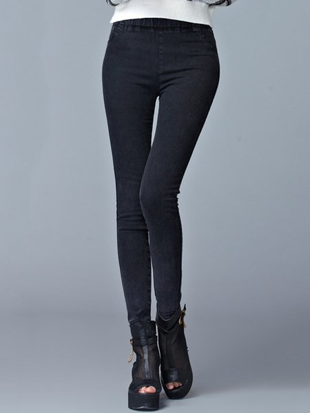 Black Casual Pockets Plain Denim Leggings