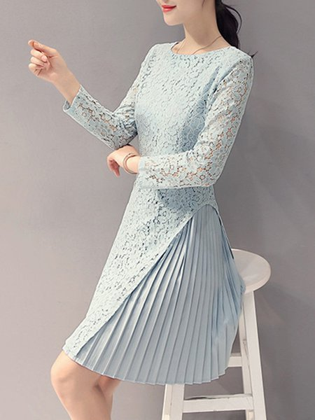 Blue A-line Solid Casual Long Sleeve Dress