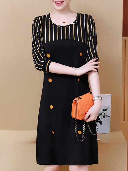 Black Stripes Long Sleeve Buttoned  Dress