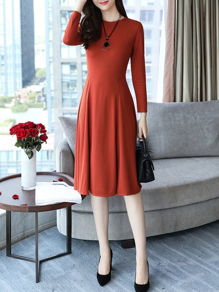 Women Casual Dress Crew Neck A-line Daily Long Sleeve Solid Dress