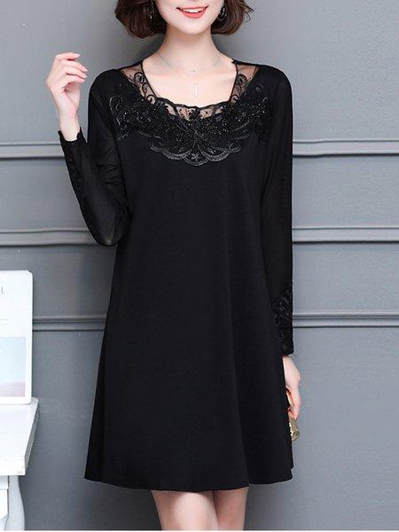 Black Elegant Crew Neck Long Sleeve  Dress