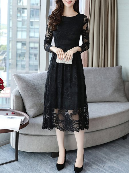 Elegant Guipure Lace Crew Neck A-line Dress