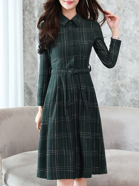 Elegant Checkered/Plaid A-line Long Sleeve Dress with Belt