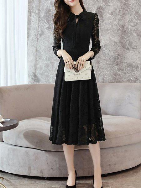 Elegant Guipure Lace Tie-neck Dress