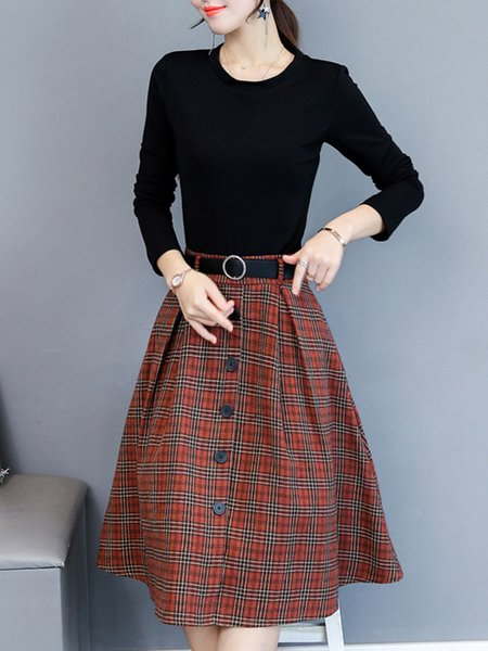 Long Sleeve Pockets Checkered/Plaid Dress with Belt