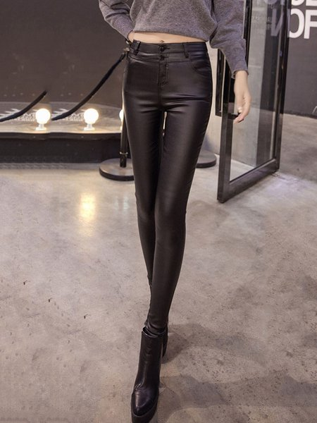 Black Casual Solid Pockets Leggings