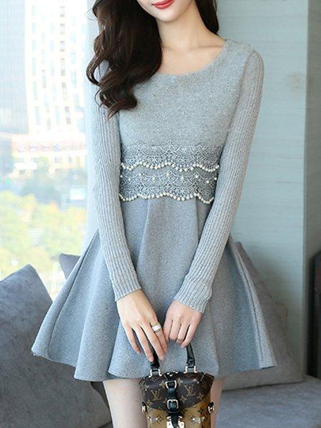 Crochet-trimmed Knitted Paneled Crew Neck Long Sleeve Dress