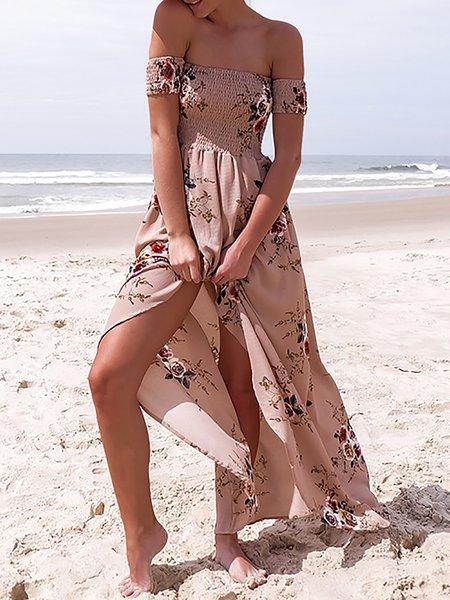 All A Dream Pink Off Shoulder Shirred Dress