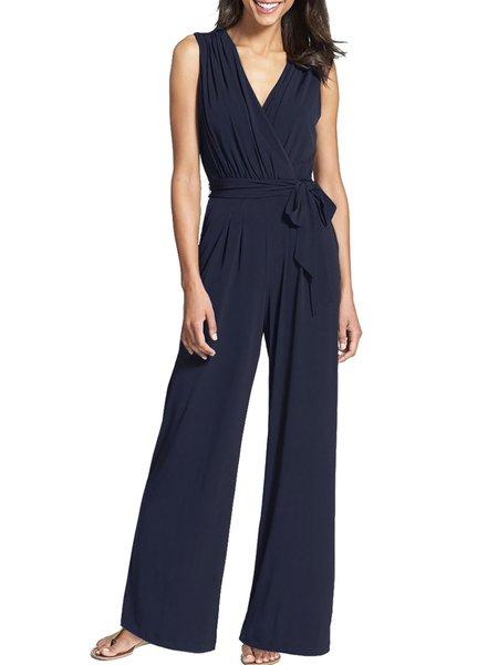 Blue Solid Bow Surplice Neck Sleeveless Elegant Dress