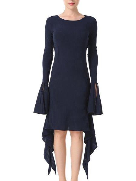 Elegant Bell Sleeve Crew Neck Asymmetric Sheath Dress