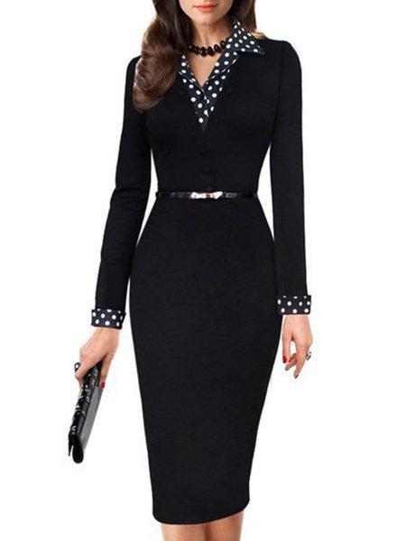 Polka Dots Long Sleeve Lapel Paneled Elegant Dress with Belt