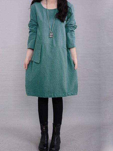 Simple Solid Pockets Linen Long Sleeve Dress