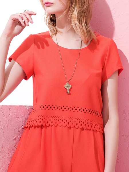 Work Your Magic Red Eyelet Crop Top