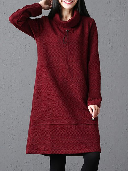 Long Sleeve Pockets Turtle Neck A-line Dress