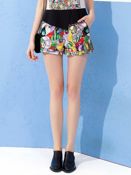 Nothing To It Zipper Pockets Abstract Cute Shorts