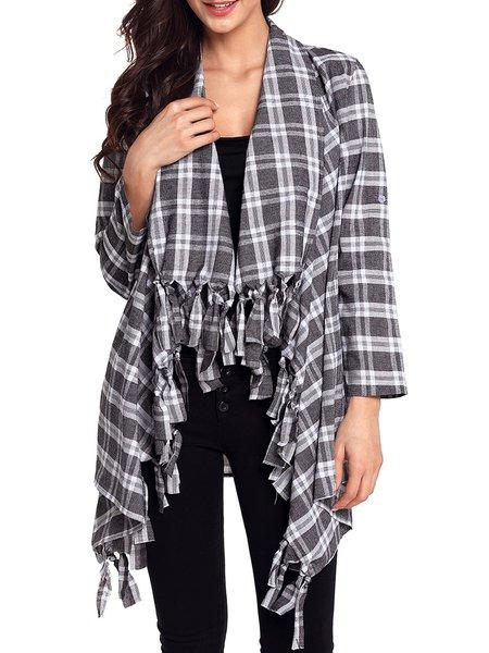 Long Sleeve Casual Polyester Shawl Collar Coat
