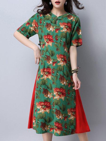 Green Vintage Style Floral Print Dress