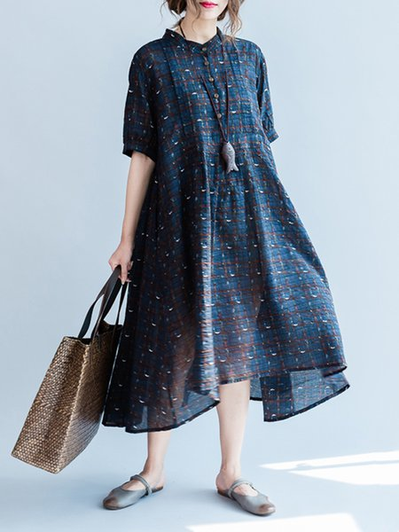 Dark Blue Batwing Buttoned Stand Collar Casual Dress