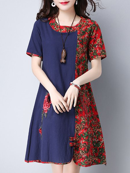Navy Blue A-line Floral Short Sleeve Casual Dress