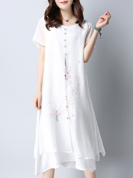 White Floral Slit Short Sleeve Crew Neck Casual Dress