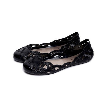 Black Hollow-Out Slip-On Women Flats