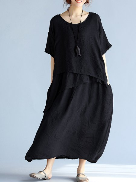 Black Solid Tiered Casual Crew Neck Maxi Dress