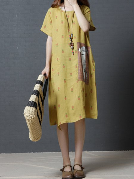 Yellow Asymmetrical Printed Short Sleeve Casual Dress
