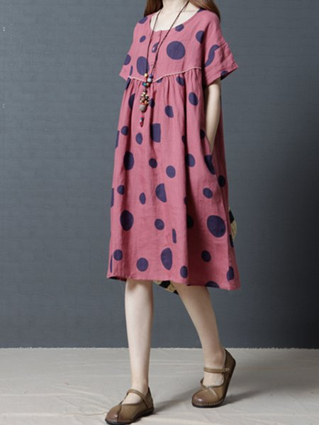 Red Women Casual Dress Crew Neck A-line Daily Short Sleeve Polka Dots Dress