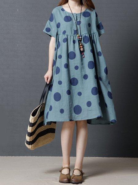 Blue Polka Dots Pockets Casual Dress