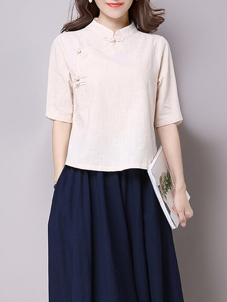 Cream Stand Collar 3/4 Sleeve Buttoned Blouse