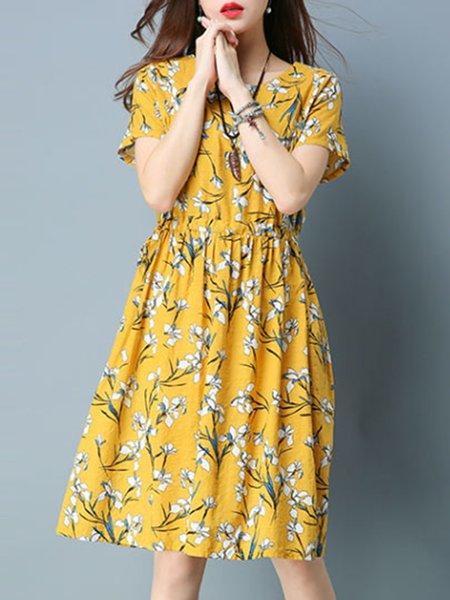 Yellow Short Sleeve Floral Print Dress