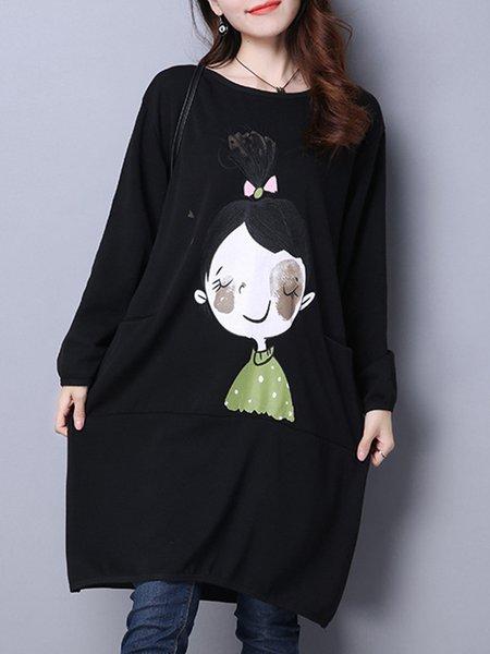 Black Printed Cocoon Long Sleeve Casual Dress