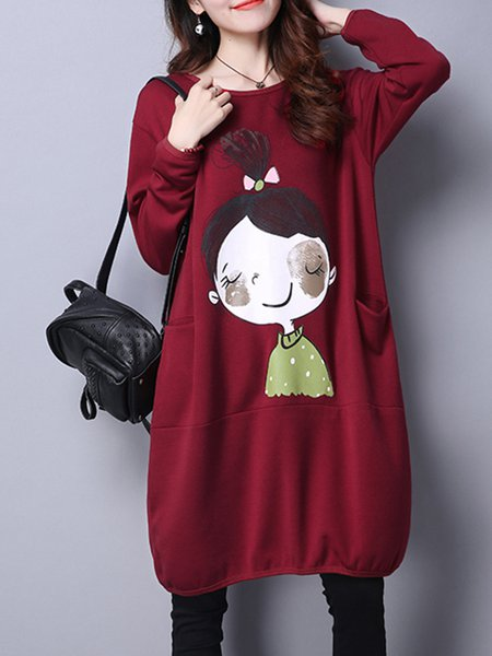 Red Cocoon Printed Crew Neck Casual Dress