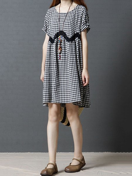 Black Short Sleeve Crew Neck Gingham Casual Dress
