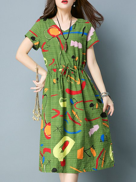 Green Casual V Neck Abstract Printed Dress