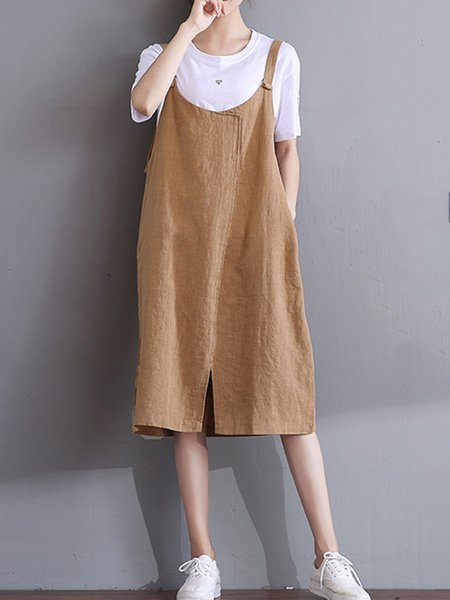 Khaki Women Casual Dress Spaghetti A-line Cotton Solid Dress
