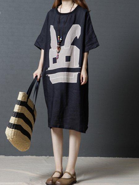 Black Printed Crew Neck Casual Graphic Dress