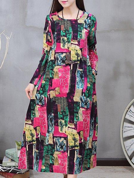 Rose Long Sleeve H-line Crew Neck Casual Dress