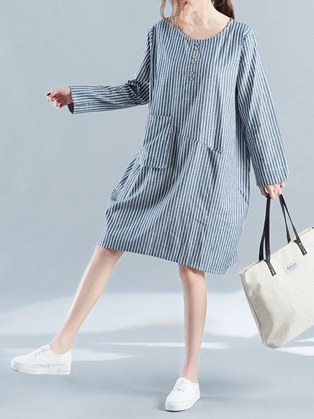 Blue Women Casual Dress Shift Daytime Long Sleeve Buttoned Dress