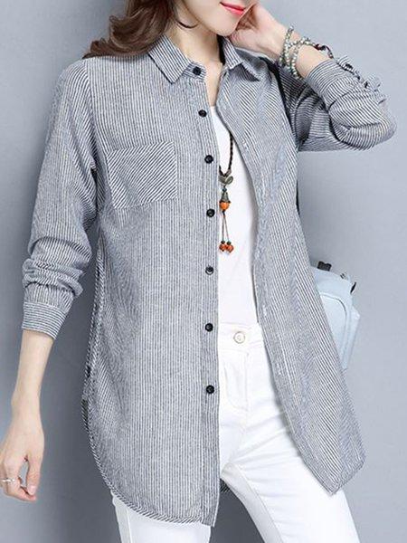 Pockets Shirt Collar H-line Casual Shirt