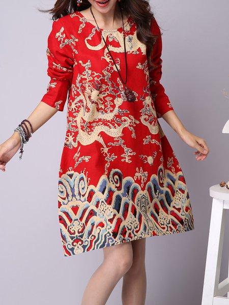 Women Print Dress Crew Neck Shift Daily Cotton Printed Dress