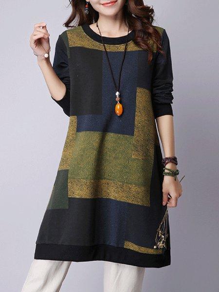 Dark Blue H-line Casual Casual Dress