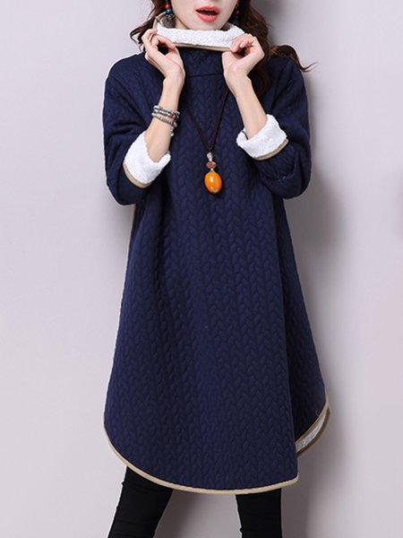 Long Sleeve Fleece-lined Turtle Neck H-line Casual Dress