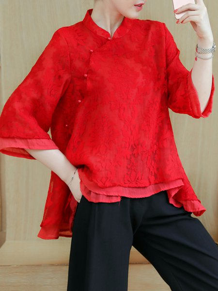 Red Buttoned Floral Asymmetrical 3/4 Sleeve Tunic
