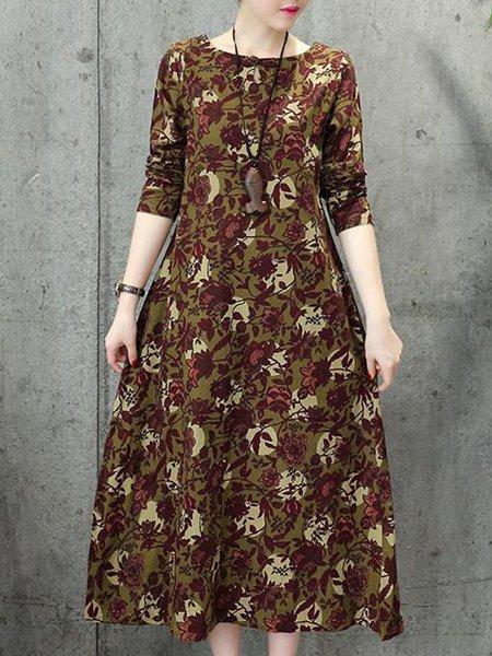 Khaki Printed Long Sleeve Floral Casual Dress