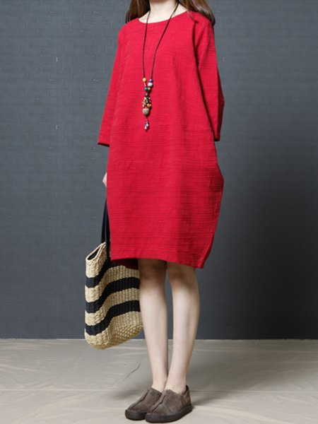 Red 3/4 Sleeve Crew Neck Casual Dress
