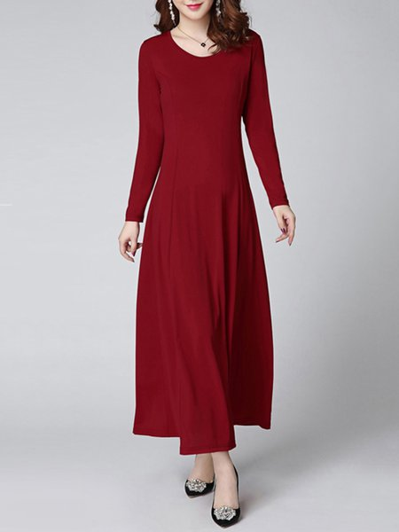 Red Crew Neck Solid A-line Long Sleeve Plus Size Dress