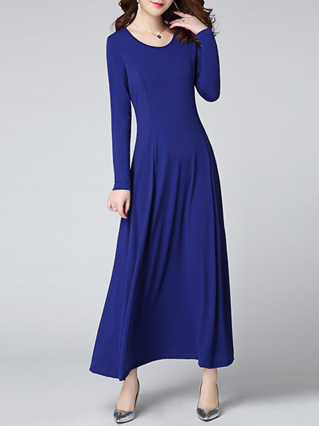 Women Casual Dress Crew Neck A-line Daytime Long Sleeve Cotton Dress