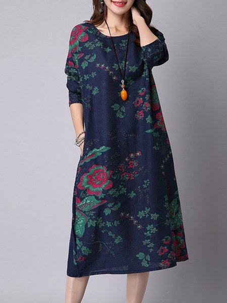 Pockets Floral Crew Neck Long Sleeve Casual Dress