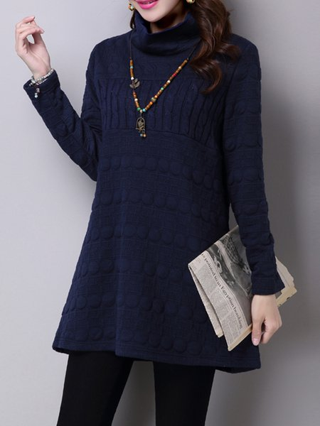 Navy Blue Long Sleeve Turtle Neck H-line Casual Dress